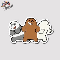 We naked bear We Bare Bears three hacker stickers suitcase stickers notebook sti