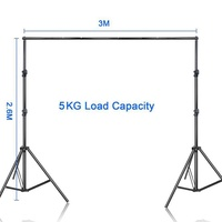 OD Photo Video Studio 2.6 x 3m Heavy Background Stand Backdrop Support System Kit