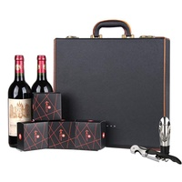 New Style the Mid-autumn Festival Red Wine Moon Cake Box Double Bottles in Gift Box Leather Wine Box Moon Cake Gift Box Tea Box