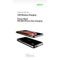 IDMIX Power Mix 10000(X10S) 15W PD3.0+QC3.0 portable wireless fast charging 10000mAh power bank charger for iPhone XS/X