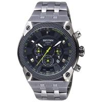 【RHYTHM 麗聲】鐵甲武士計時手錶-黑x鐵灰/46mm(I1501S02)