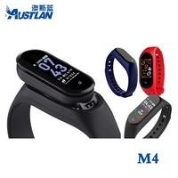 M4新款真心率血壓計步鬧鐘智能手環觸屏藍牙手錶深度防水遙控自拍