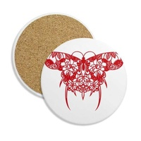Chinese Kite Butterfly in Red Ceramic Coaster Cup Stone for Holder Gift Absorbent Mug 2pcs Drinks