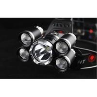 T6五頭燈 不含電池 爆閃亮_美國Cree XML-T6 _防水頭燈 飛機頭頭燈5T6強光五頭定焦釣魚led五燈【B】