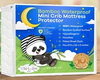 Waterproof Bamboo Soft Quilted Mattress Protector Fits Mini Portable, Foldable Travel Mattresses Hypoallergenic Absorbs Leaks and Spills Protecting Your Mattress from Damage