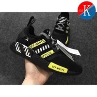 OFF - WHITE x Adidas NMD R1 Boost รองเท้าวิ่งสำหรับผู้ชายคลังสินค้าพร้อม OFF14