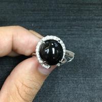 《寶石工作室》天然墨翠戒指 訂製款 墨翠 拉花 鑽石戒指 手工戒指 手工製作
