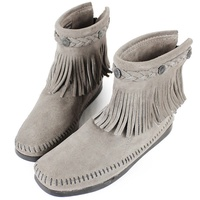 MINNETONKA 灰色麂皮後拉鍊流蘇莫卡辛短靴 女鞋