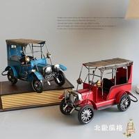 北歐擺飾復古鐵皮汽車模型家居裝飾品擺件懷舊玩具創意個性辦公桌酒櫃禮物