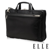 ELLE HOMME 尼龍╳皮革 單拉鍊14吋筆電收納兩用公事包-黑 EL74164A