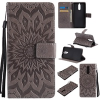 Rongnew Sunflower Emboss Flip Leather Back Cover Cases With Stand Card Slot for Huawei Ascend Mate 10 lite/Maimang 6/Honor 9i/Nova 2i