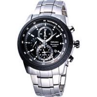 SEIKO 多功能鬧鈴計時手錶-黑/46mm 7T62-0HL0D(SNAB51J1)