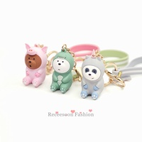 Lovely We Bare Bears Keychain Figures Three Bare Bears Cosplay Keyring Pendant