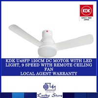 KDK U48FP 120CM DC MOTOR WITH LED LIGHT 9 SPEED REMOTE CEILING FAN * LOCAL AGENT WARRANTY