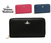 Vivienne Westwood (黑/桃紅/深海軍藍) NAPPA 真皮金鍊長夾 皮夾 錢包 100%全新正品 特價