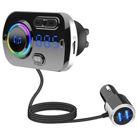Bluetooth 5.0 Car FM Transmitter, Audio Adapter and Receiver, Hands-Free Calling Wireless Bluetooth Radio Transmitter, MP3 Car Charger with 2 USB Ports, Easy to Clamp/Paste, Support AUX Input TF Card