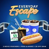 [Cathay Cineplexes] EVERYDAY Movie Package (2 Everyday Movie Vouchers + Food Voucher + Grab Voucher) Cinema/Promotion/Bundle Deal/Movie Ticket Voucher/F&B Voucher/Food Voucher/Movie Combo/Food Combo/Drinks Combo/Gift Voucher