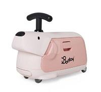Bontoy Traveller 紅點設計美學騎乘行李箱-粉紅色貴賓狗