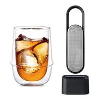 KINTO 不鏽鋼黑色隨身沖茶器 + 雙層玻璃杯 350ml