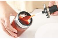 【帶勺密封調味罐】 玻璃調料罐帶勺 不銹鋼調料瓶 密封調味瓶 番茄醬瓶 調料盒 調味罐