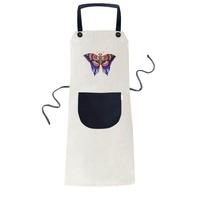 Traditional Chinese Kite Butterfly Pattern Cooking Kitchen Beige Adjustable Bib Apron Pocket Women Men Chef Gift - intl