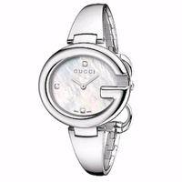 Gucci 真品美鑽錶 大G 石英錶 正品 手錶 手鐲 面盤 經典 YA134504 珍珠母貝 寶島鐘錶
