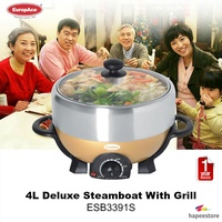 Europace 4L Deluxe Steamboat With Grill - ESB3391S (1 Year Warranty)