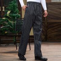 Feng ben Pants Trousers Straight-leg Pants Chef Pants BLACK&WHITE Striped Pants Chef Work Pants Full Elastic Waist Adjustable