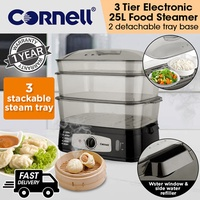 Cornell 3 Tier Electric Food Steamer 25L Capacity (1 Year Warranty) CFS-EL20L
