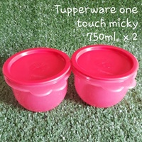Tupperware one touch micky 750ml. 2ใบ สีแดง