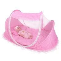 Portable Foldable Mosquito Net Anti-Bug Crib Tent with Mattress Pillow Pink