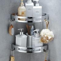 免打孔浴室置物架304不銹鋼壁掛衛生間衛浴掛件洗澡間五金三角架 城市玩家
