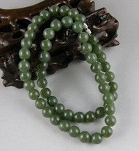 Necklace with farmland jade*green jade circle the bead man's necklace* - intl