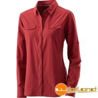 【【蘋果戶外】】荒野 W1201-7 酒紅 WildLand 女 可調節抗UV長袖襯衫 素面襯衫 罩衫 薄外套 快乾 襯衫外套 防曬 抗紫外線 大尺碼