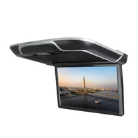 DDAUTO Android 6.0 IPS Car Roof Mount MP5 Player 13 inch Flip Down Multimedia Monitor, FM, HDMI, Bluetooth, USB, SD Card Ambient Lighting Design (Smart 4K) Beige
