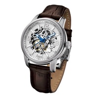 Arbutus Classic Skeleton AR904SWF Anolog Automatic Brown Leather Men Watch