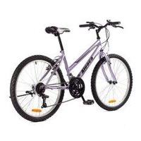 ALEOCA จักรยานเสือภูเขา MTB รุ่น Campagna เฟรมออกแบบให้เหมาะสำหรับผู้หญิง, ล้อ 24 นิ้ว, 18 สปีด (สีม่วง/ดำ) พร้อมไฟหน้า
