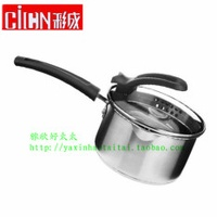 CICN Product Stainless Steel ke li gai-Milk Pot Three Layer Shaped Charge Double Bottom Milk Pot Stew Pot Small Stewing Pot Instant Noodles Pot