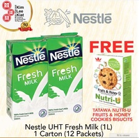 [PROMO BUNDLE 1 CARTON] NESTLE UHT FRESH MILK (1 Litre) + FREE 1xBOX TATAWA COOKIES BISCUITS