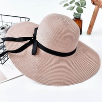 2018 Summer Hat Ladies' Big Bow Hat Sunshade Hat Female Straw Hat Outdoor Tourism Anti UV Sunhat