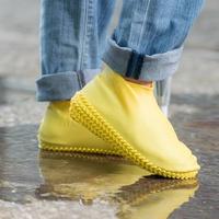 樂嫚妮 輪胎紋防滑耐磨加厚防水矽膠鞋套-黃 (附贈防水收納袋)