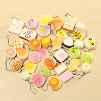 35pc Exquisite Mini Kawaii Panda Squishy Charm Straps Soft Bread Donuts Toys