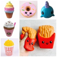 Funny Squishy Toys French Fries/Rainbow Ice Cream Elastic PU Stress Relief Anti Stress Squeeze Toy Kids Phone Strap Decor Gifts