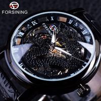 93 手動機械錶 FORSINING黑殼黑面銀機芯 男錶超薄概念學生男錶正品簡約男士手錶騰龍王者錶盤手錶 腕錶
