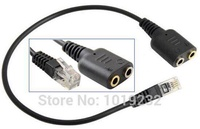 VoiceJoy Call center Headset Cable 2 X 3.5mm to RJ9 Adapter Convertor PC Headset to RJ9/RJ10/RJ12 plug for telephones