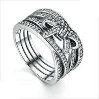 PANDORA 潘朵拉 新款高檔鑽石戒指 交叉蝴蝶結s925純銀戒指 細膩情懷925銀戒指