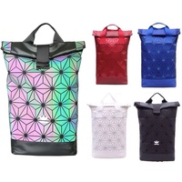 Adidas x Issey Miyake 3D Urban Mesh Roll Up Black Backpack Bag Double Hand