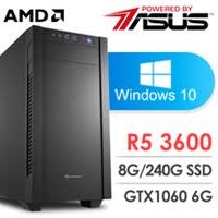 華碩 電玩系列【絕對零度】AMD R5 3600六核 GTX1060 娛樂電腦(8G/240G SSD/WIN 10)