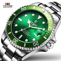 特威斯夜光 綠水鬼 男士手錶精鋼錶帶 全自動機械透底 男士手錶 黑水鬼 防水男錶