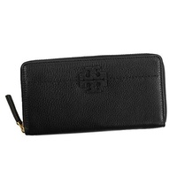 Tory Burch TORY BURCH / McGraw ZIP CONTINENTAL WALLET round wallet wallet # 41847 001 BLACK